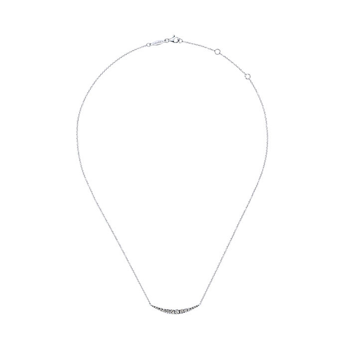 Gabriel & Co. White Gold Curved Bar Indulgence Necklace Full View