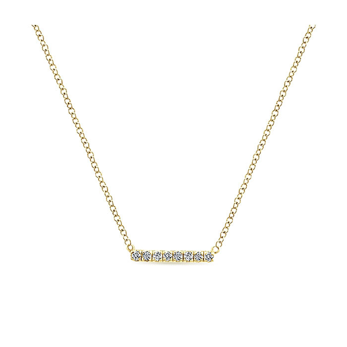 Gabriel & Co. Yellow Gold Diamond Mini Straight Bar Indulgence Necklace Close Up