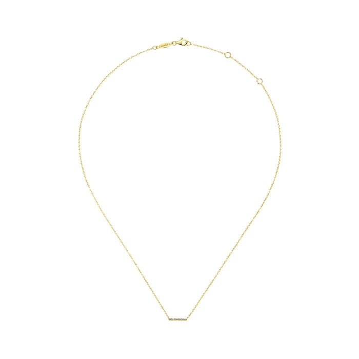 Gabriel & Co. Yellow Gold Diamond Mini Straight Bar Indulgence Necklace Full View
