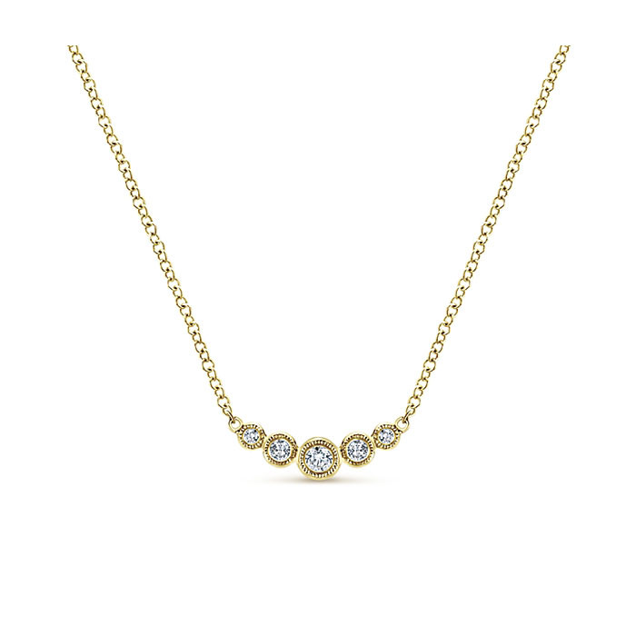 Gabriel & Co. Yellow Gold 5 Diamond Curved Bar Indulgence Necklace Close Up