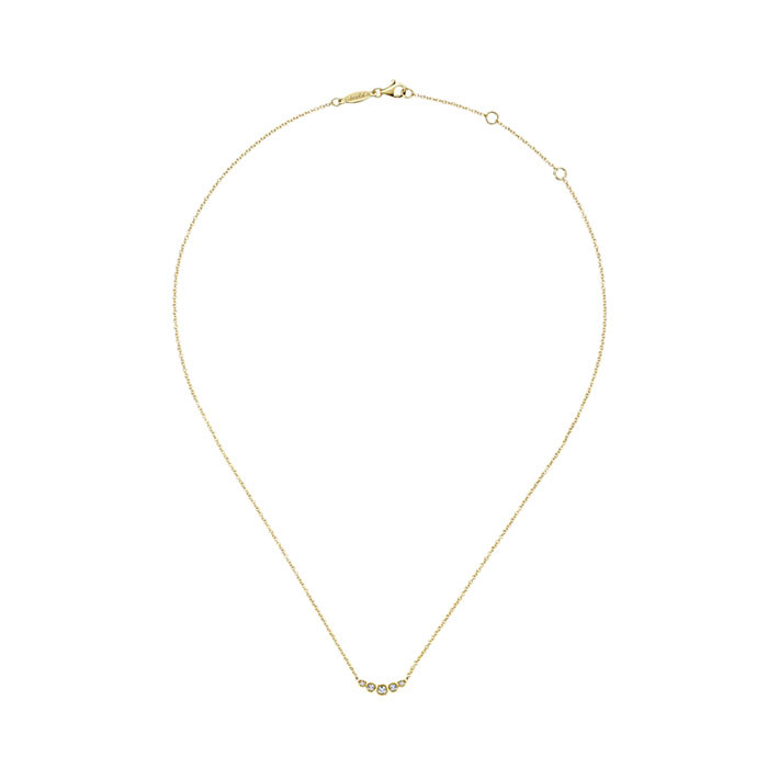 Gabriel & Co. Yellow Gold 5 Diamond Curved Bar Indulgence Necklace Full View