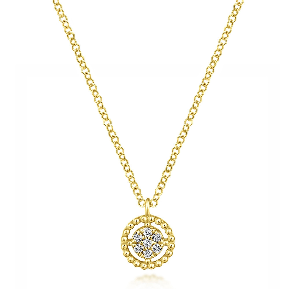 Bujukan Gabriel & Co. Yellow Gold Beaded Circle Diamond Necklace