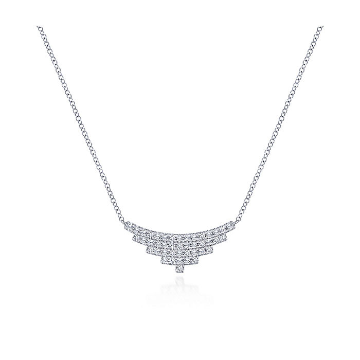 Gabriel & Co. White Gold Curved Stacked Bar Indulgence Necklace Close Up