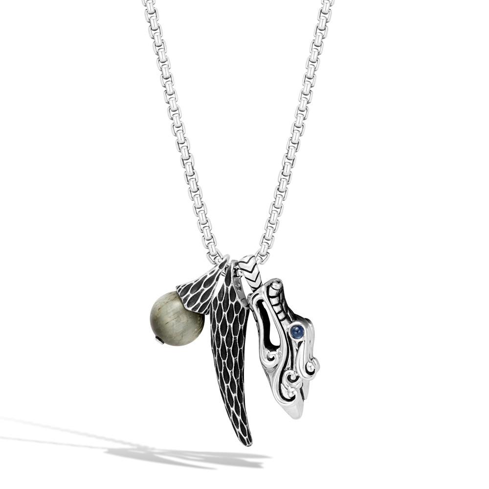 John Hardy Silver Legends Naga Dragon & Eagle Eye Charm Necklace