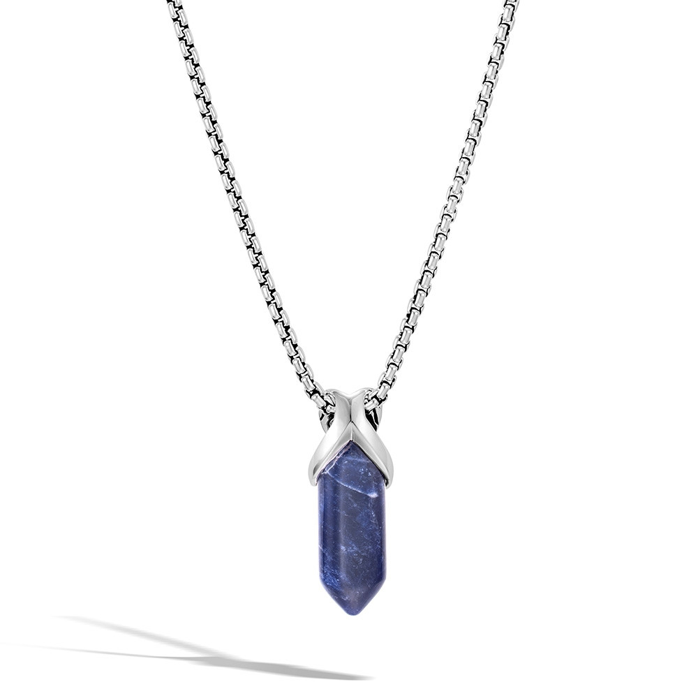 John Hardy Classic Chain Asli Sodalite Crystal Pendant Necklace