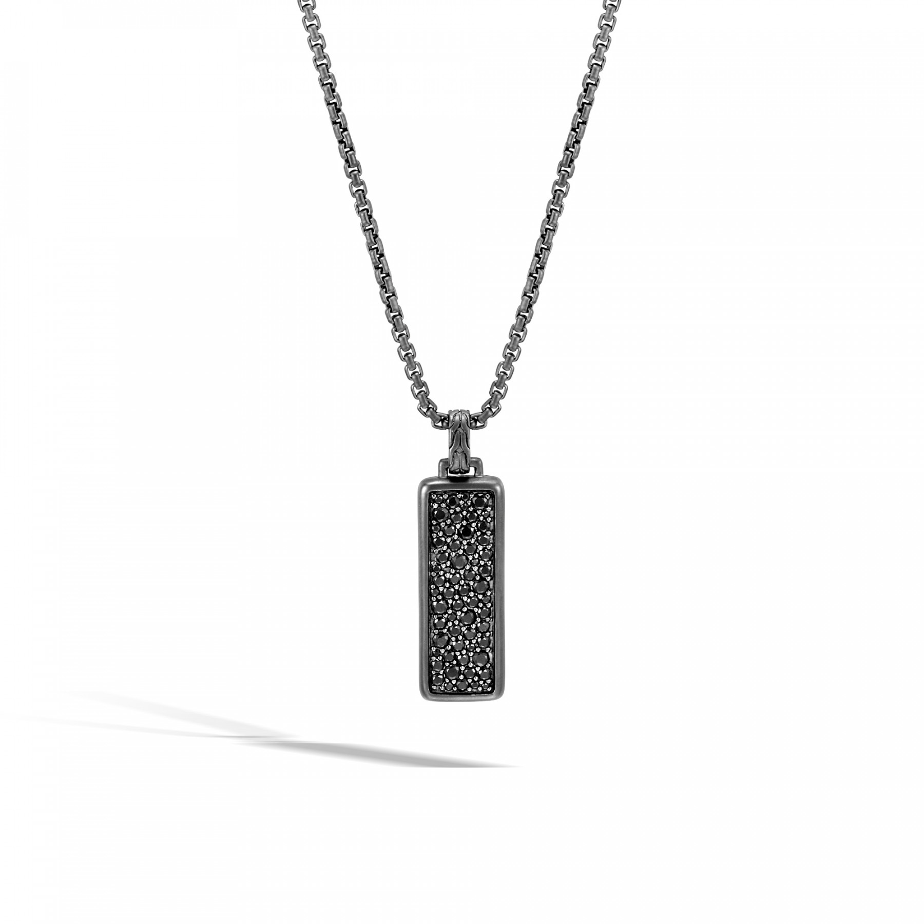 """John Hardy Classic Chain Black Sapphire 24"""" Necklace in Black Rhodium front view"""