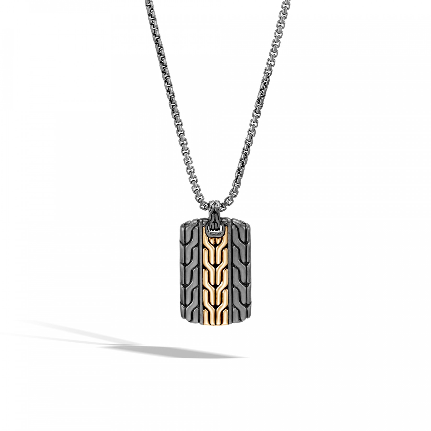 John Hardy Classic Chain Two-Tone Dog Tag Necklace