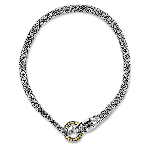 John Hardy Naga Dragon Dot Circle Gold & Silver Chain Necklace