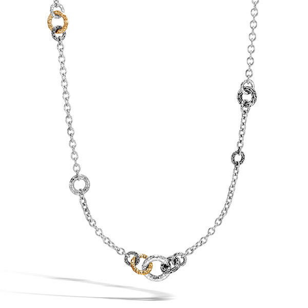 John Hardy Hammered Gold & Silver Classic Chain Sautoir Link Necklace