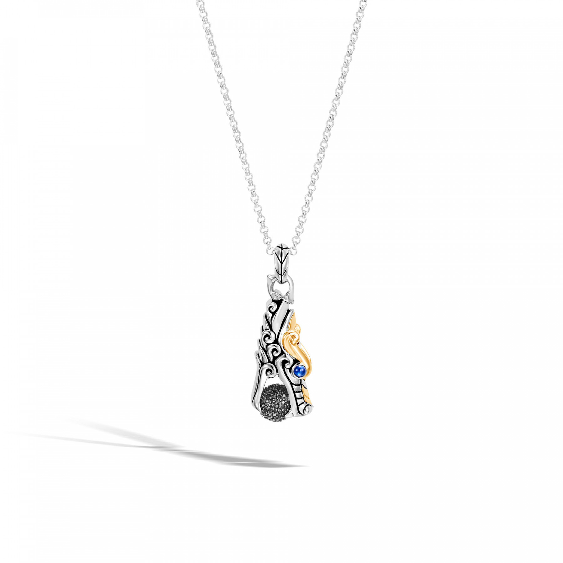 John Hardy Legends Naga Dragon with Ball Necklace in Silver & Gold