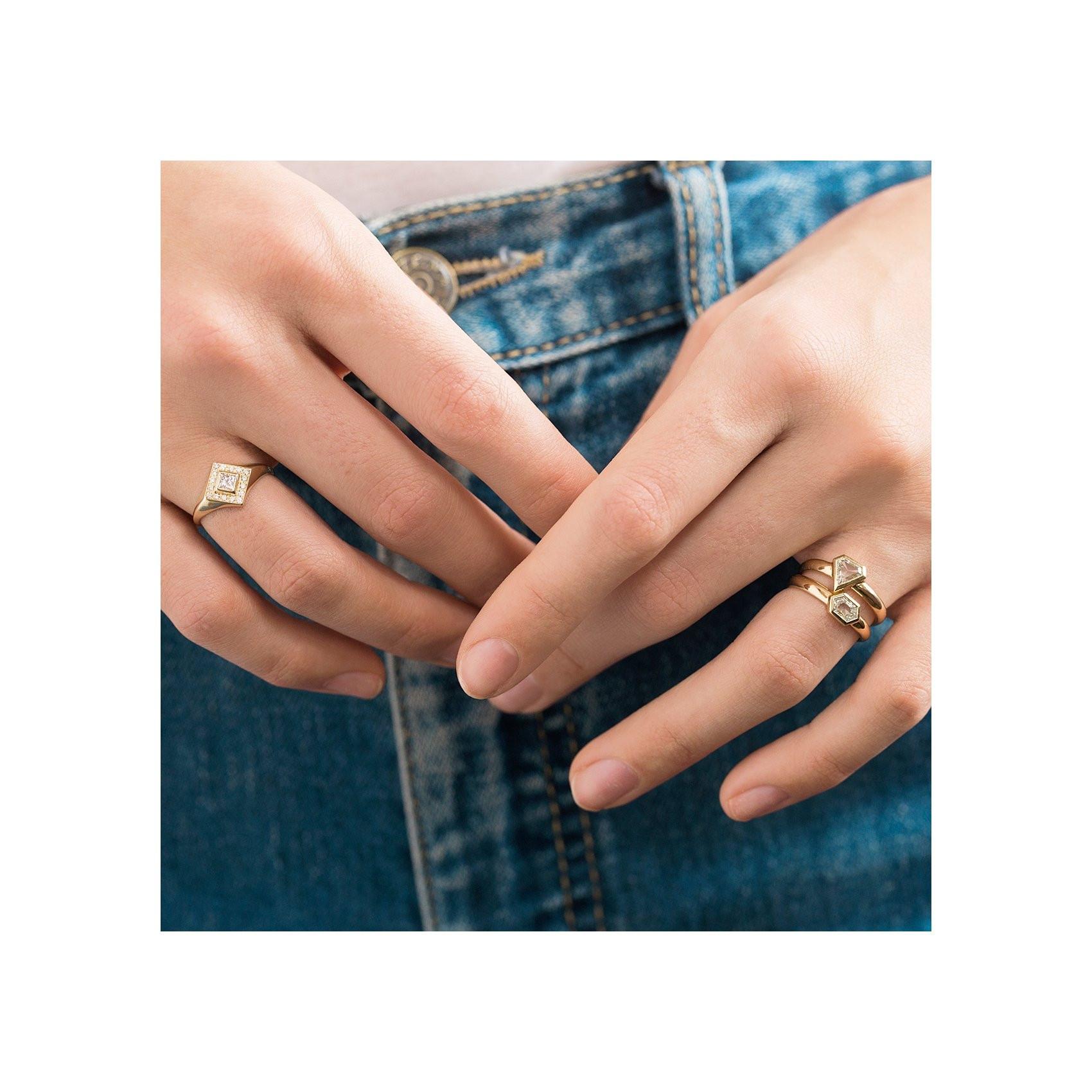 Zoe Chicco Diamond Pave Signet Ring on model