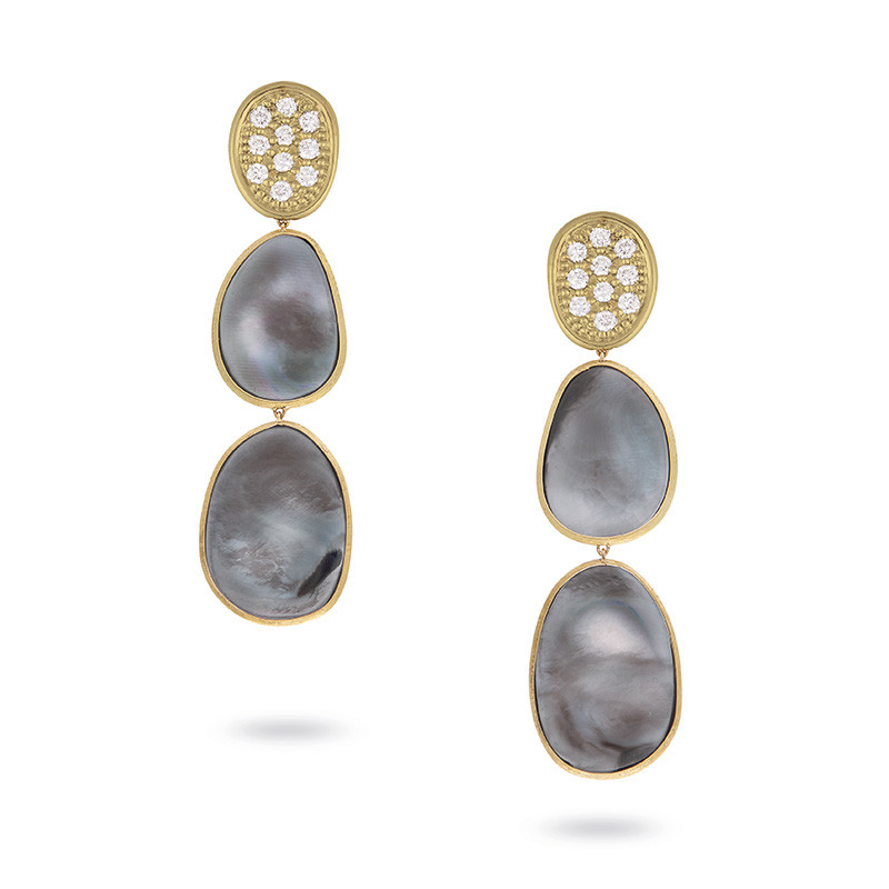 Marco Bicego Black Mother of Pearl & Diamond Drop Lunaria Earrings