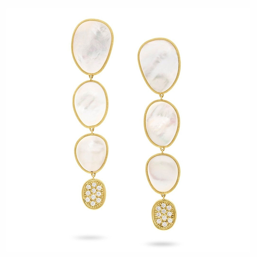 Marco Bicego White Mother of Pearl Lunaria Multi Drop Earrings