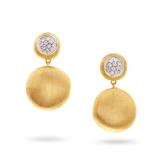 Marco Bicego Yellow Gold Jaipur & Diamond Circle Drop Earrings