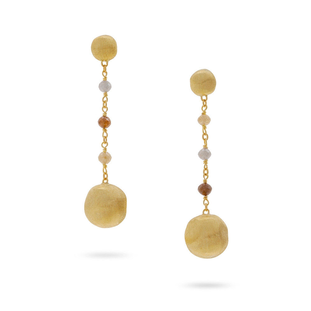 Marco Bicego Yellow Gold Africa Stellar Mixed Diamond Drop Earrings