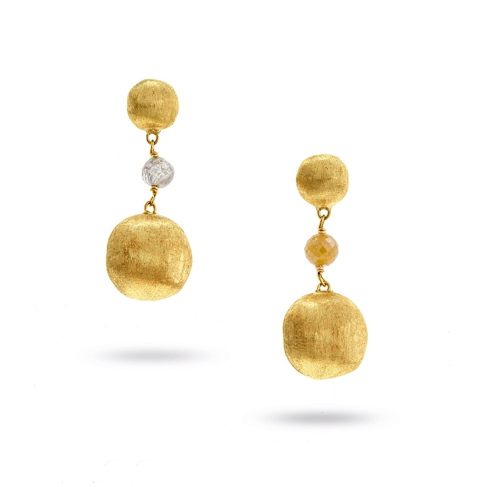 Marco Bicego Small Africa Stellar Yellow Gold Mixed Diamond Drop Earrings