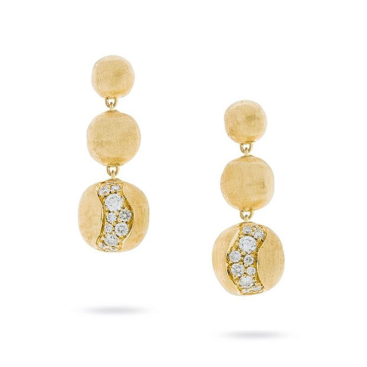 Marco Bicego Africa Constellation Diamond Yellow Gold Drop Earrings