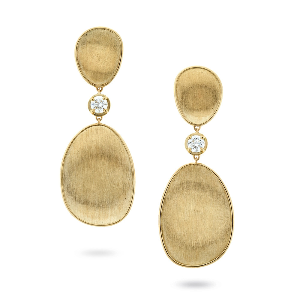 Marco Bicego Yellow Gold Diamond Lunaria Drop Leaf Earrings