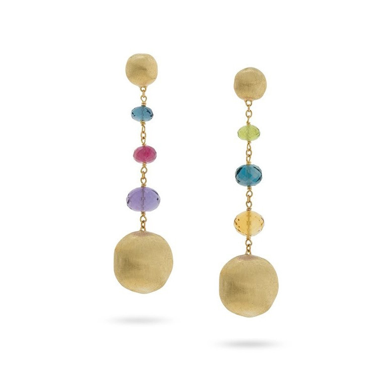 Marco Bicego Yellow Gold Africa Color Mixed Gemstone Drop Earrings
