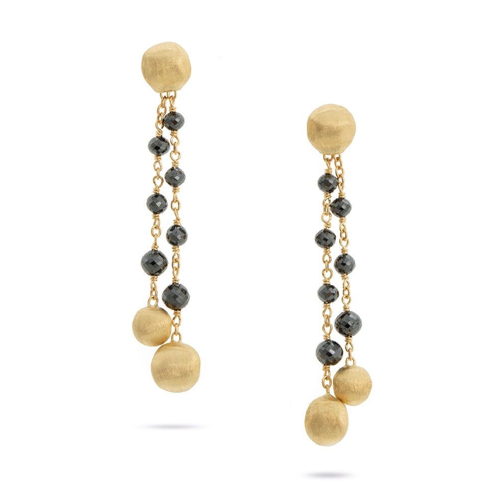 Marco Bicego Yellow Gold Africa Stellar Black Diamond Drop Earrings