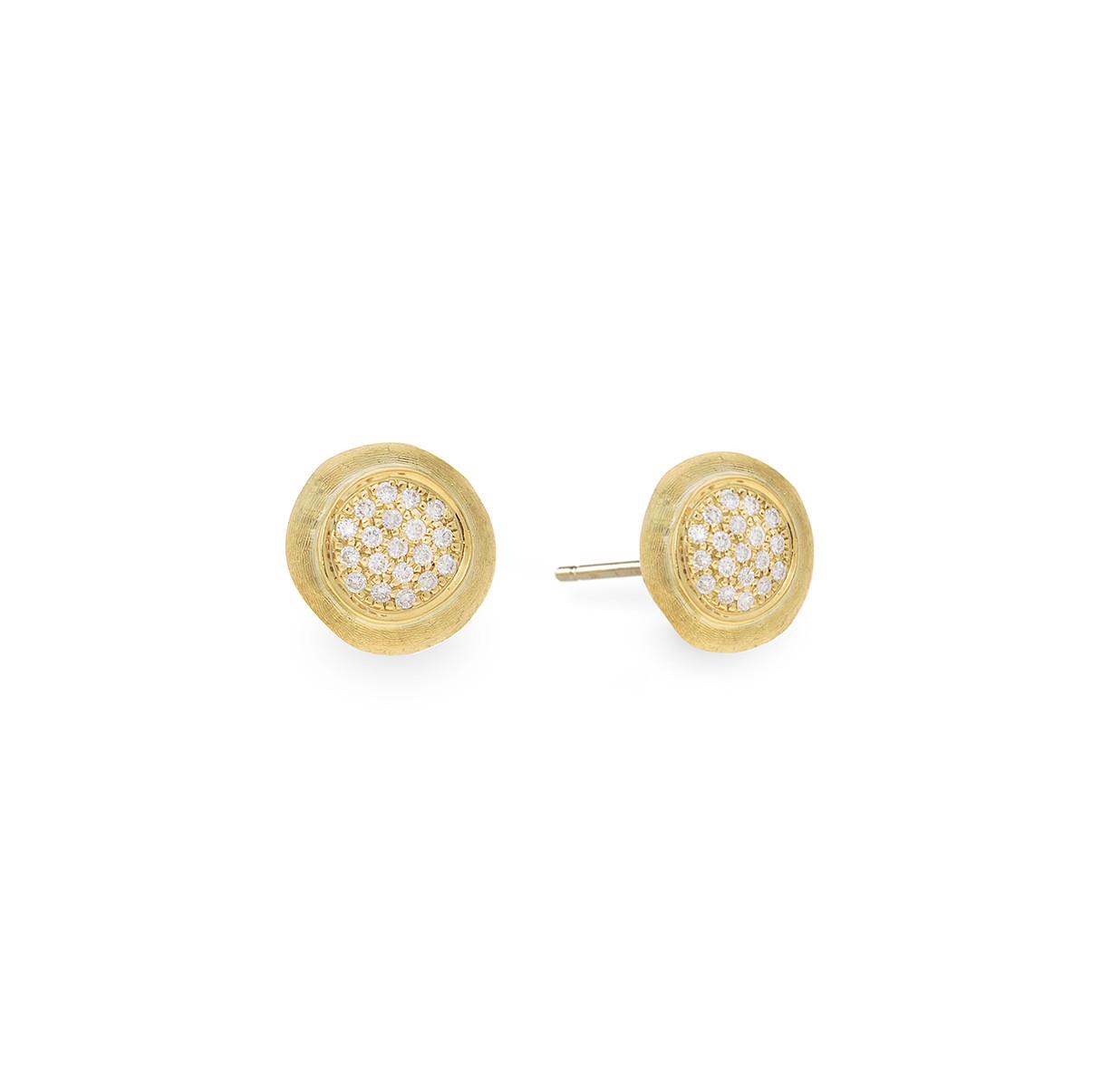 Marco Bicego Yellow Gold Circle Diamond Stud Jaipur Earrings