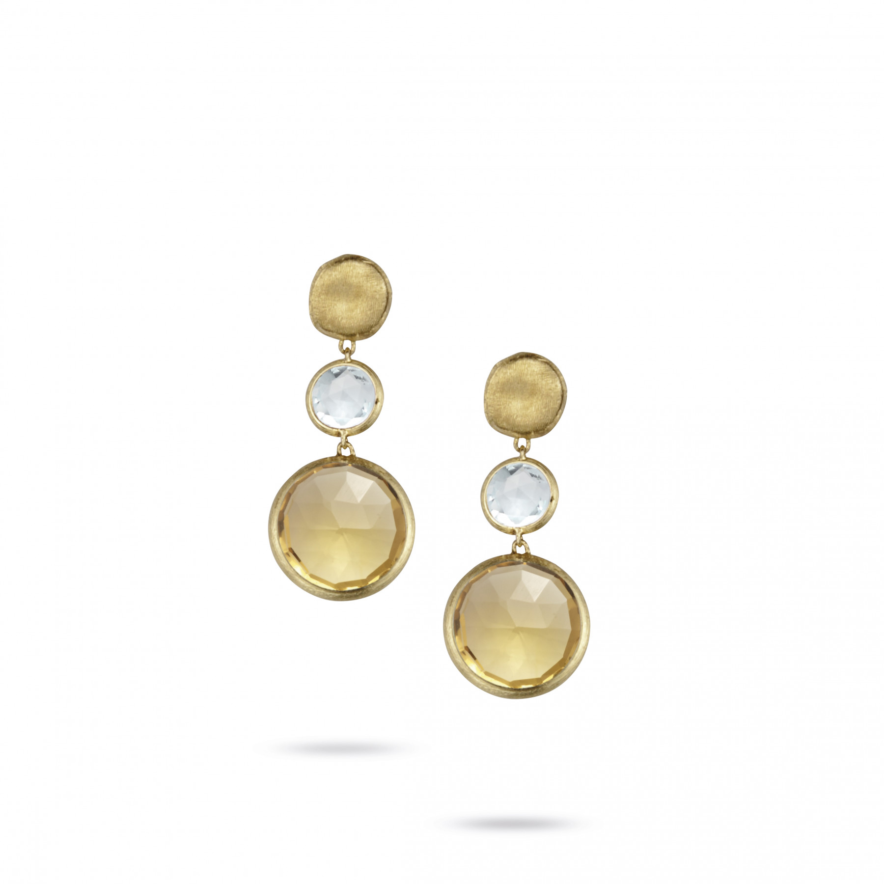 Marco Bicego Jaipur 18kt Yellow Gold 3 Drop Earrings with Semi-Precious Gemstones
