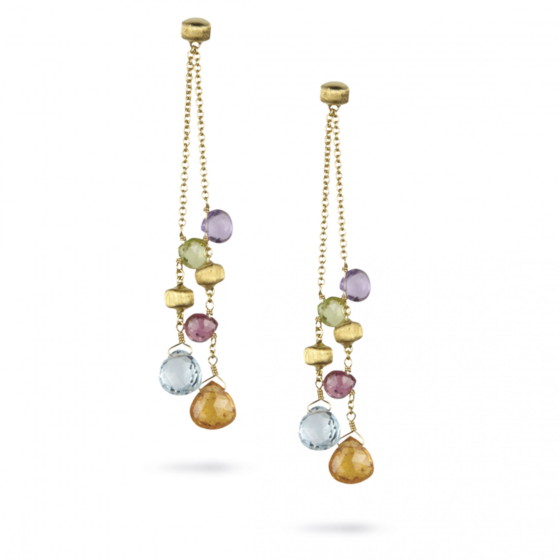 Marco Bicego Paradise 18kt Yellow Gold 2-Strand Earrings with Multi-Colored Gemstones