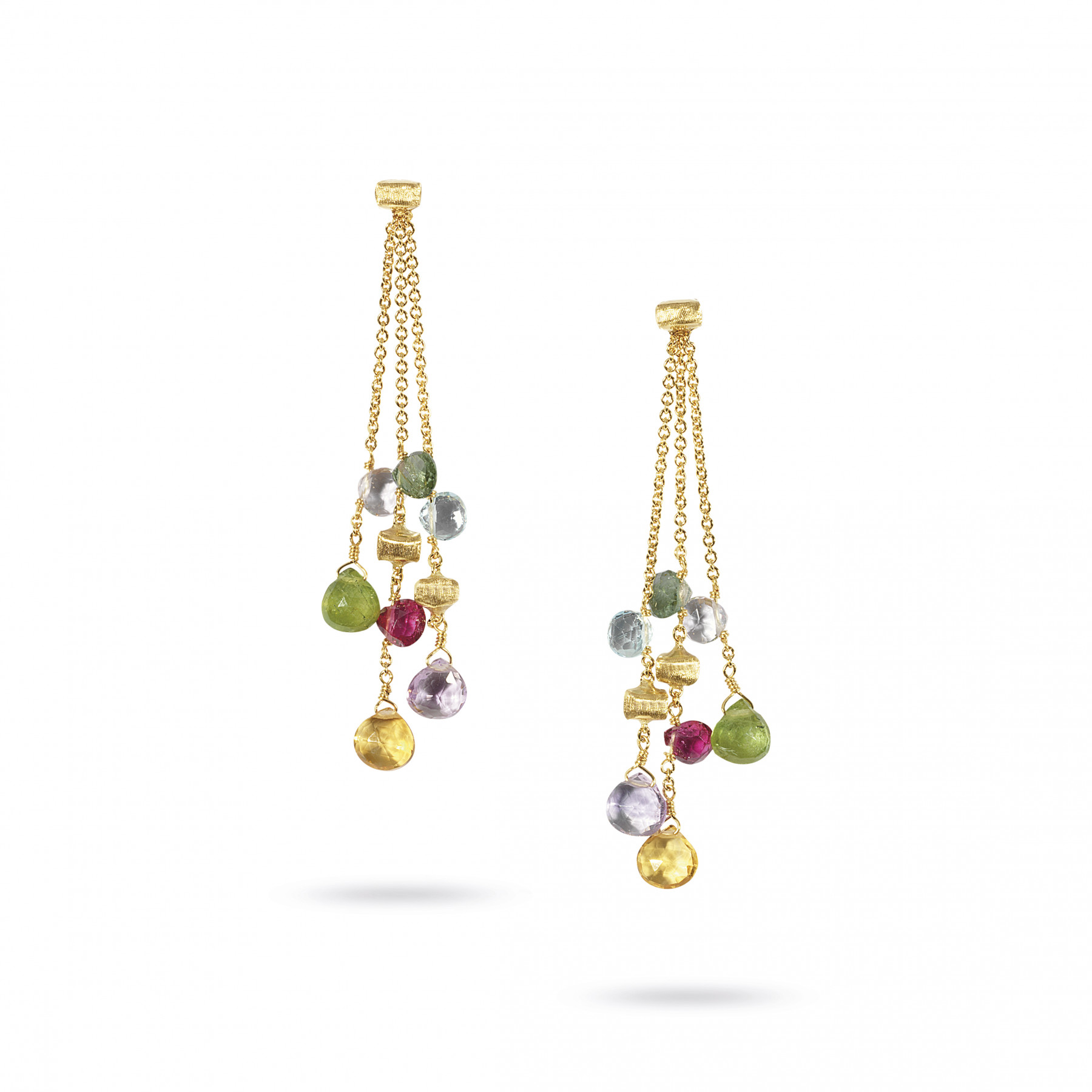 Marco Bicego Paradise 18kt Yellow Gold 3-Strand Earrings with Multi-Colored Gemstones
