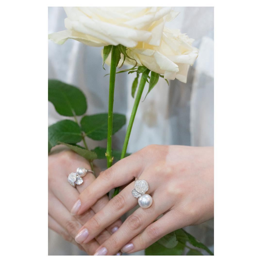 Mikimoto 8.5mm Les Petales Place Vendome Pearl & Diamond Ring on model