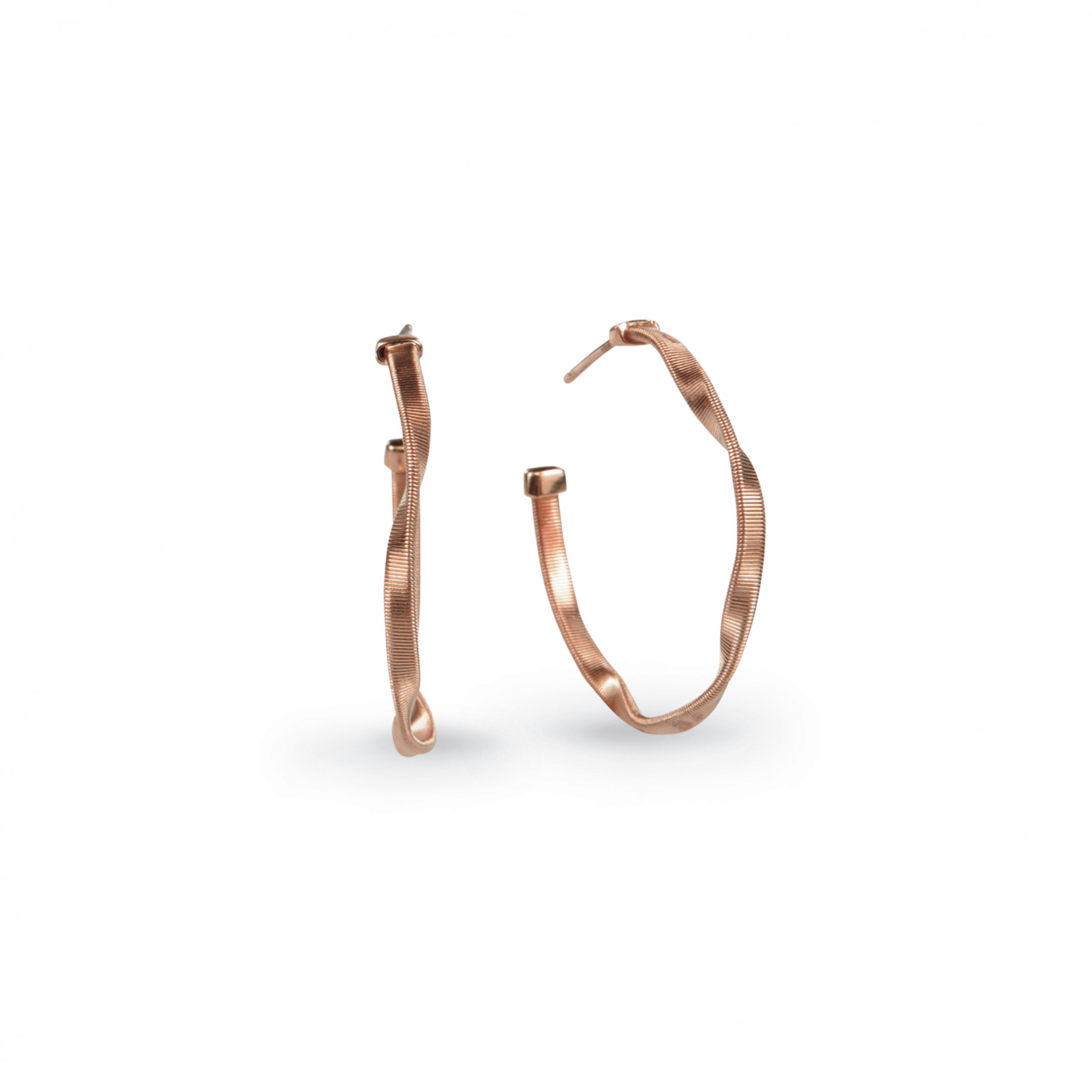 """Marco Bicego Marrakech Round Hoop Earrings Hand Finished in 18kt Rose Gold 1"""""""