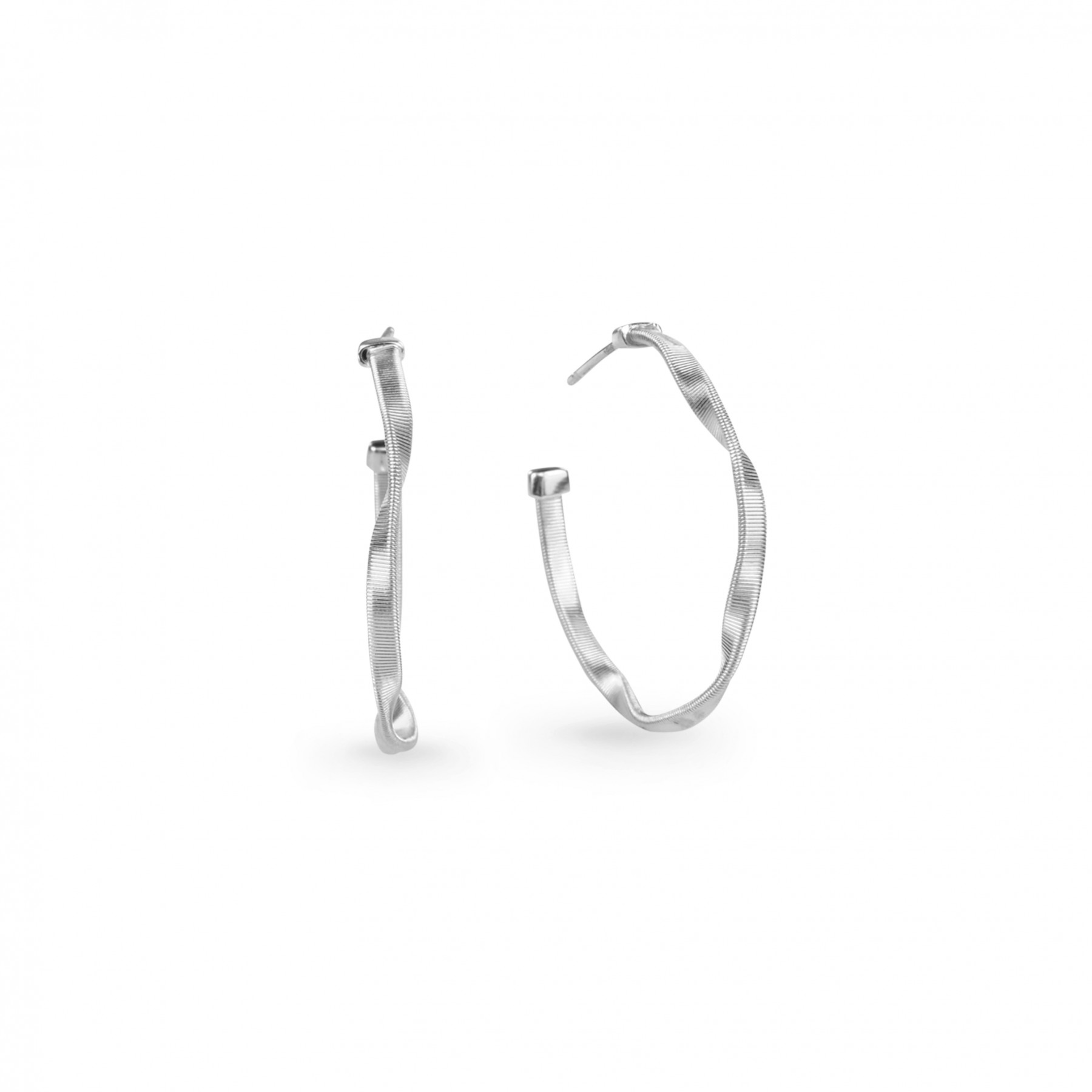 """Marco Bicego Marrakech Round Hoop Earrings Hand Finished in 18kt White Gold 1"""""""