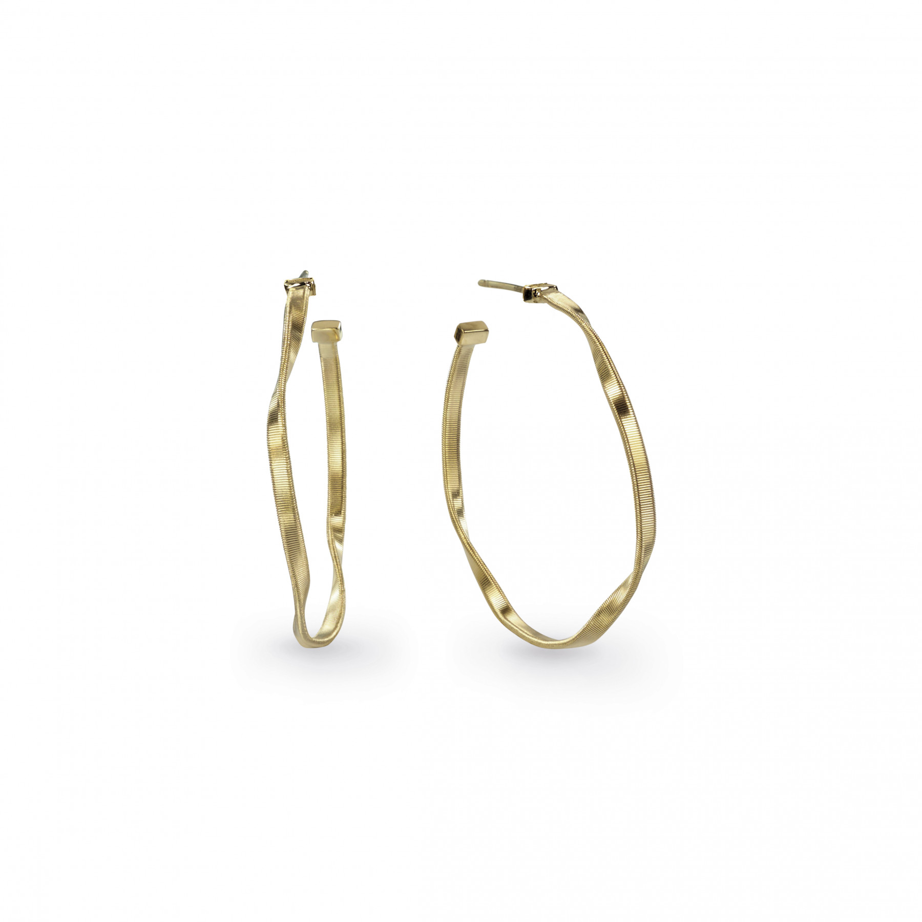 """Marco Bicego Marrakech Round Hoop Earrings Hand Finished in 18kt Yellow Gold 1.5"""""""