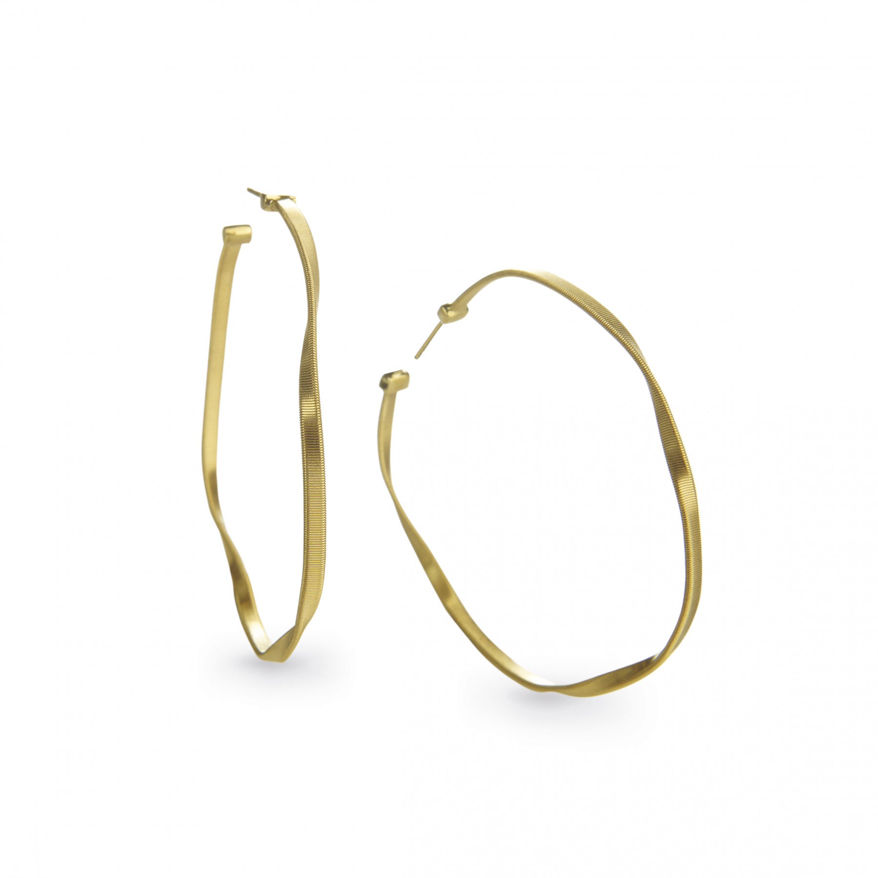 Marco Bicego Marrakech Round Hoop Earrings Hand Finished in 18kt Yellow Gold 2""