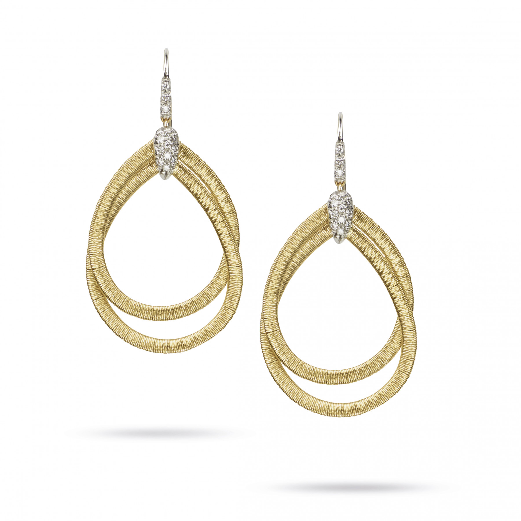 Marco Bicego Il Cairo 18kt Yellow Gold Double Wire Diamond Hoop Earrings