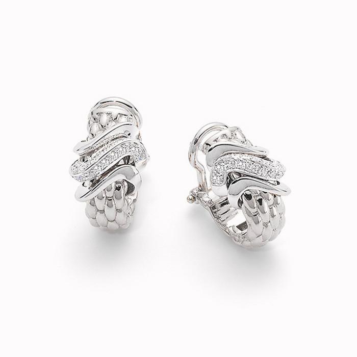 Fope White Gold Vendome Diamond Wave Earrings