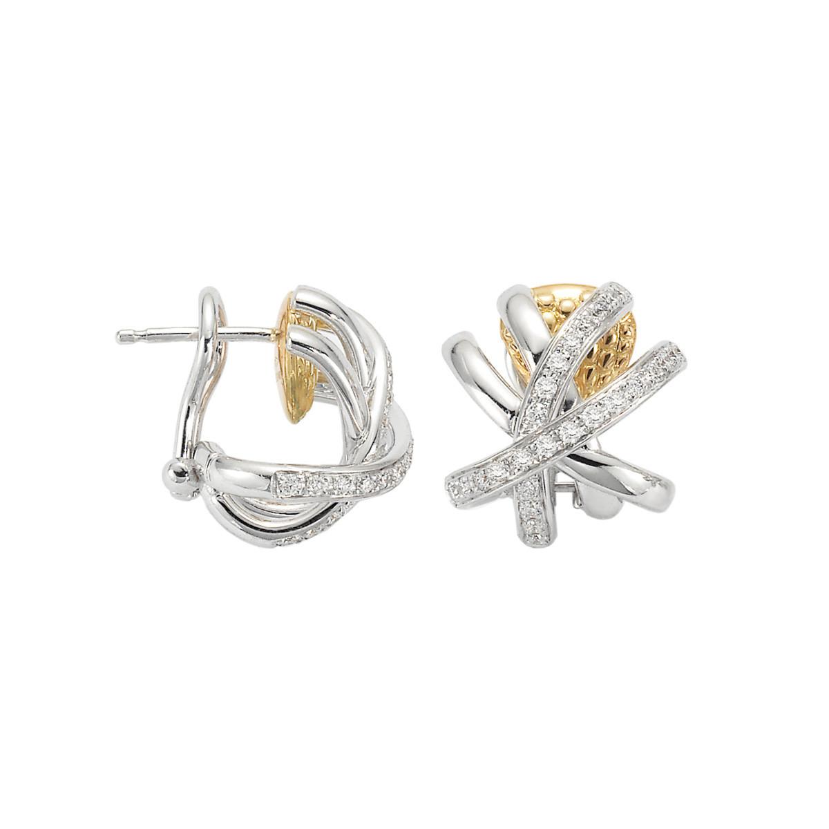 Fope Two-Tone Solo Venezia Diamond Huggie Earrings