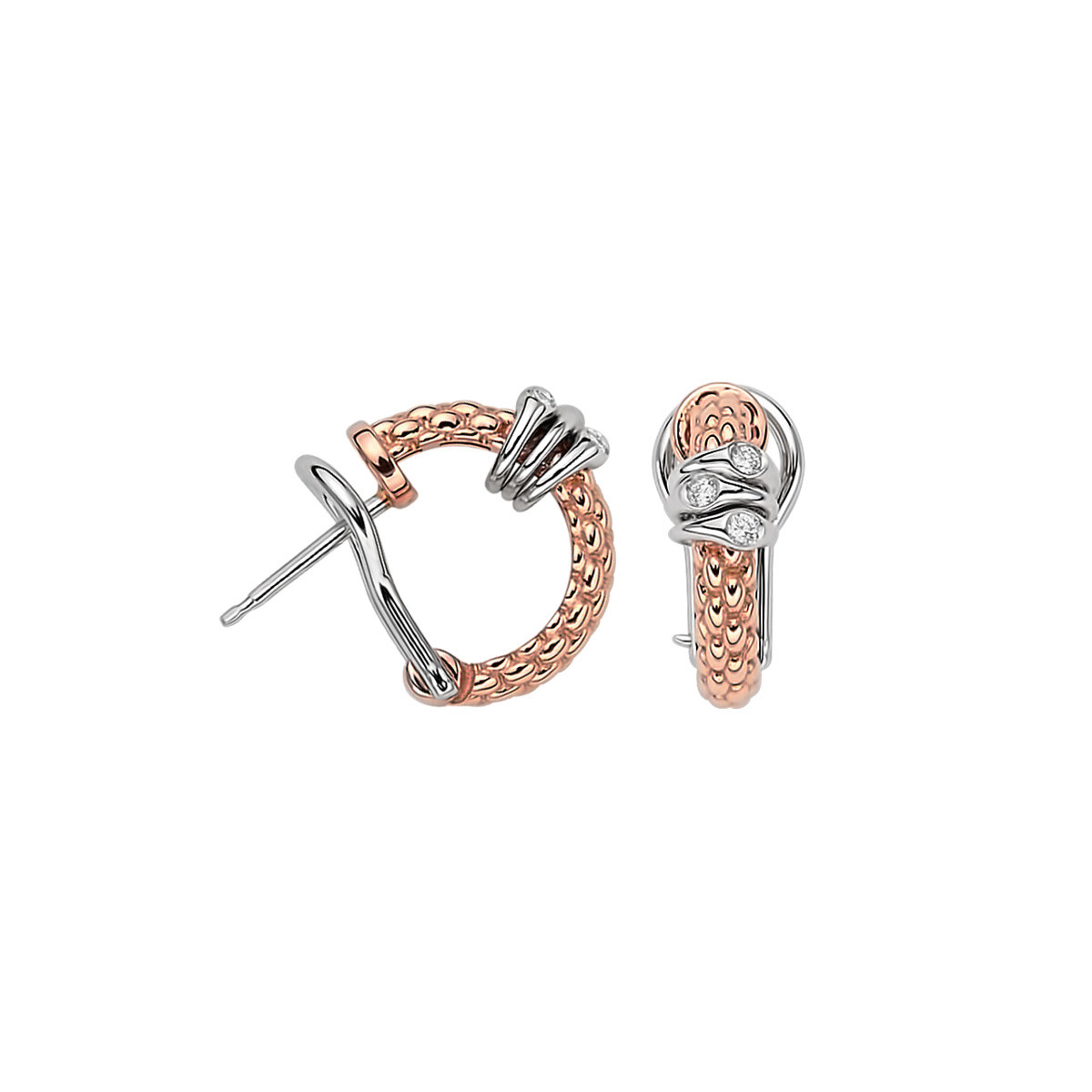 Fope Rose Gold Prima Dew Drop Diamond Station J-Hoop Earrings
