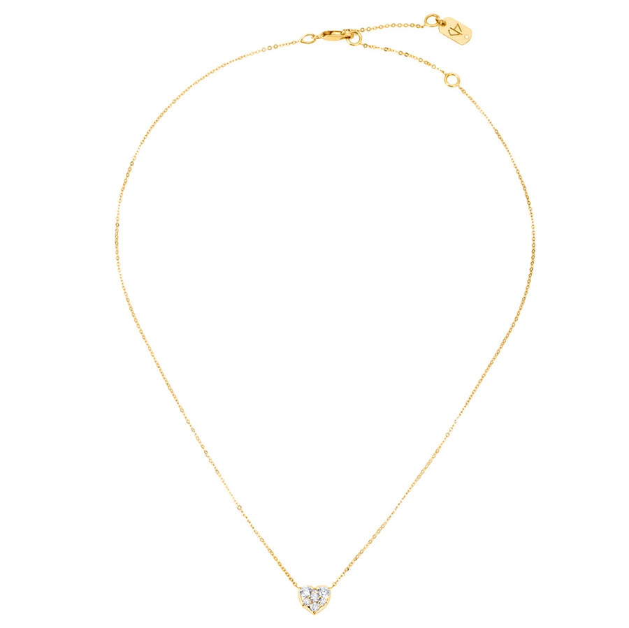 Carbon & Hyde Diamond Yellow Gold Heart Choker Necklace Full View