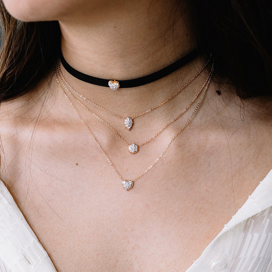 Carbon & Hyde Diamond Gold Heart Choker Necklace on Model
