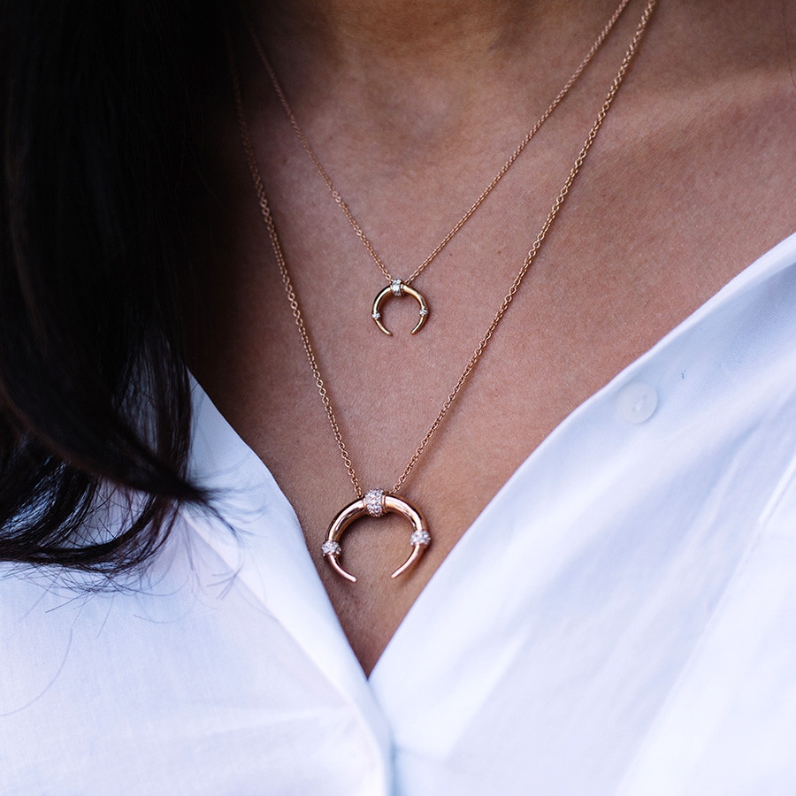 Carbon & Hyde Dharma Gold Diamond Pendant Necklace on Model