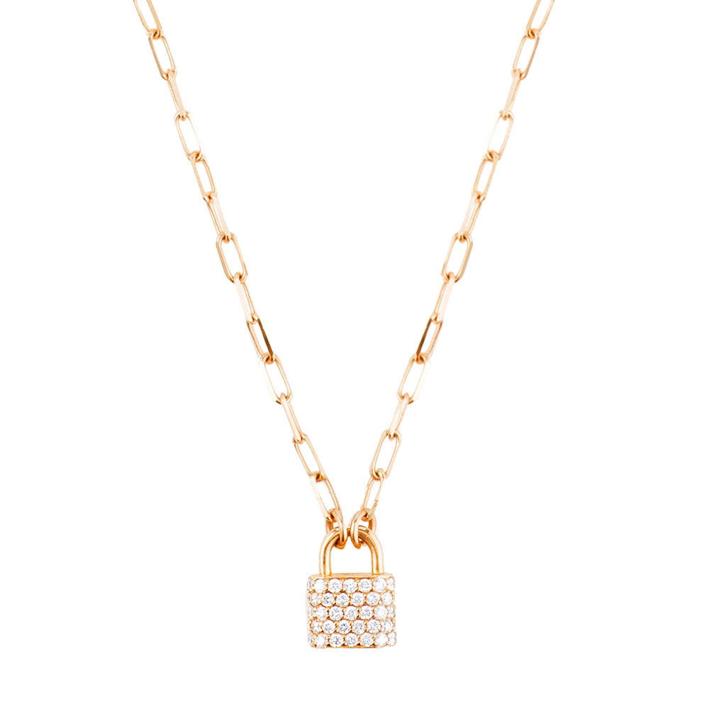Carbon & Hyde Yellow Gold Diamond Padlock Necklace