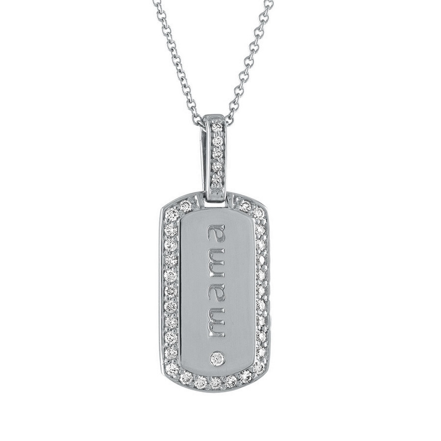 My Story Isla Diamond Mama Dog Tag White Gold Pendant Necklace
