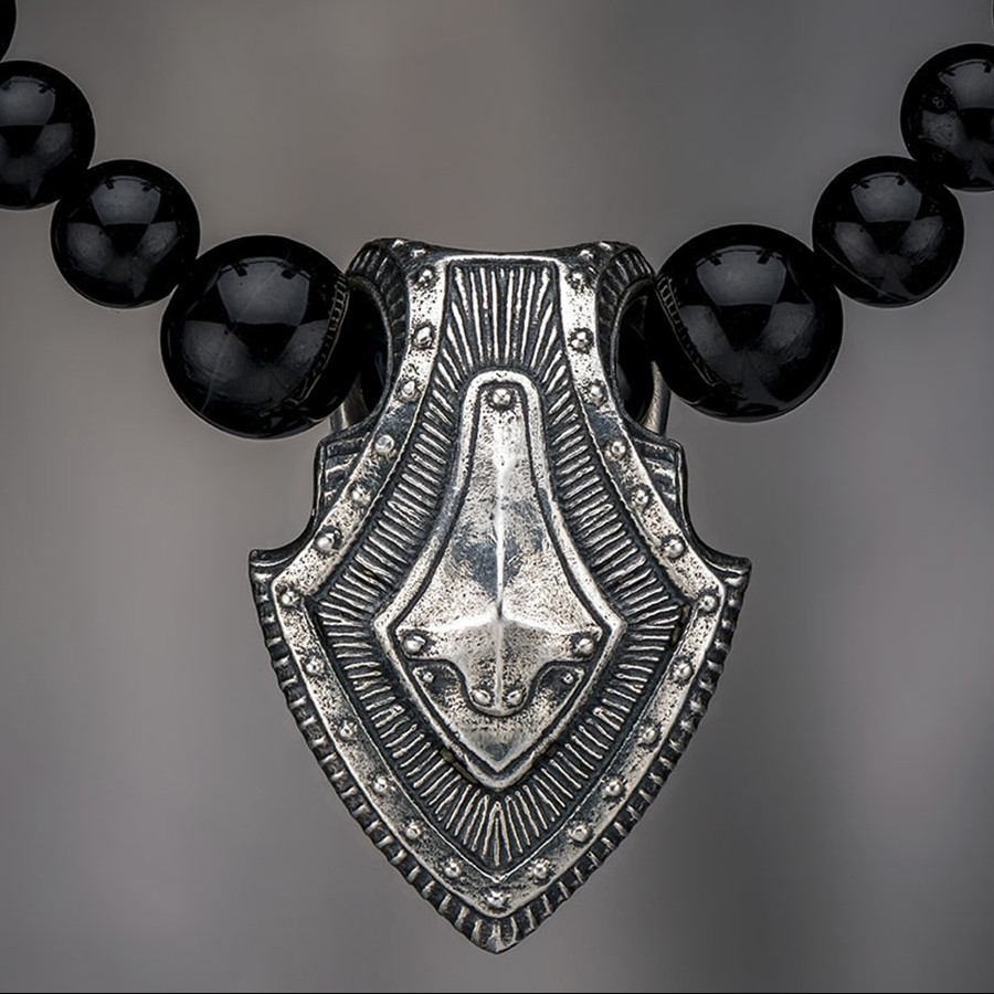 Silver Warrior Shield & Sardonyx William Henry Beaded Necklace Front View