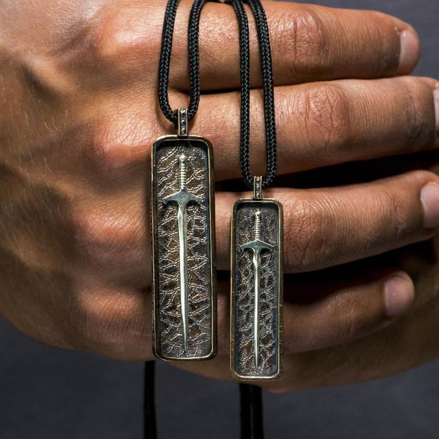 Silver Warrior Raider Bronze Sword William Henry Necklace on Model