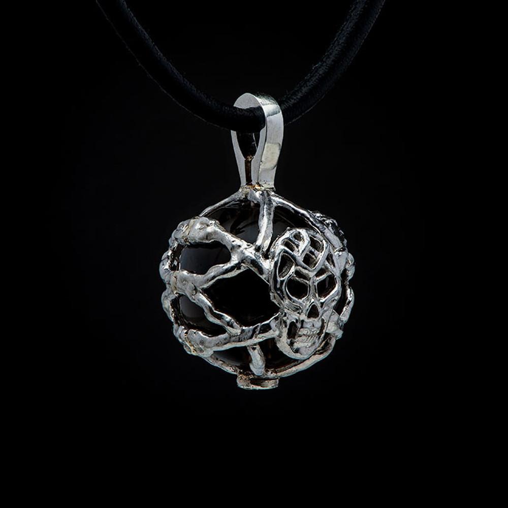 William Henry Purpose Embrace Silver Skull Smoky Quartz Bead Pendant Necklace Back View