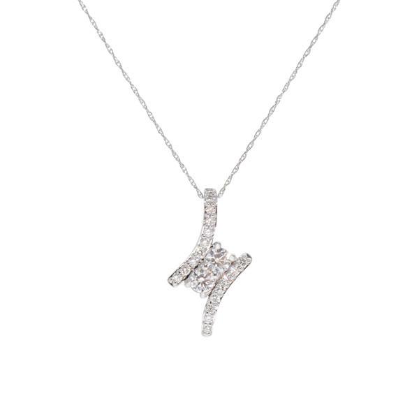 Two Stone .60ctw Diamond Pendant Necklace