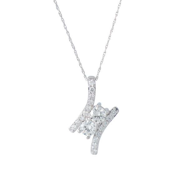 Two Stone 1.00ctw Diamond Pendant Necklace
