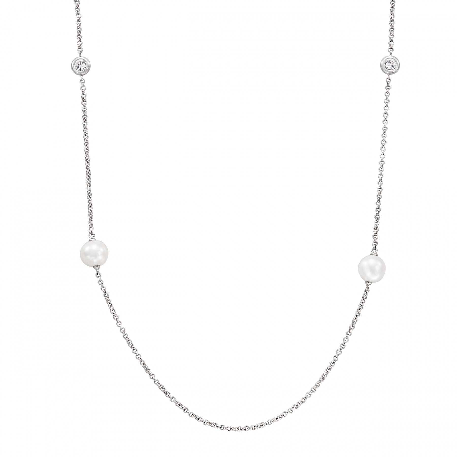 Honora Shimmer Pearl and Sapphire Necklace in Sterling Silver