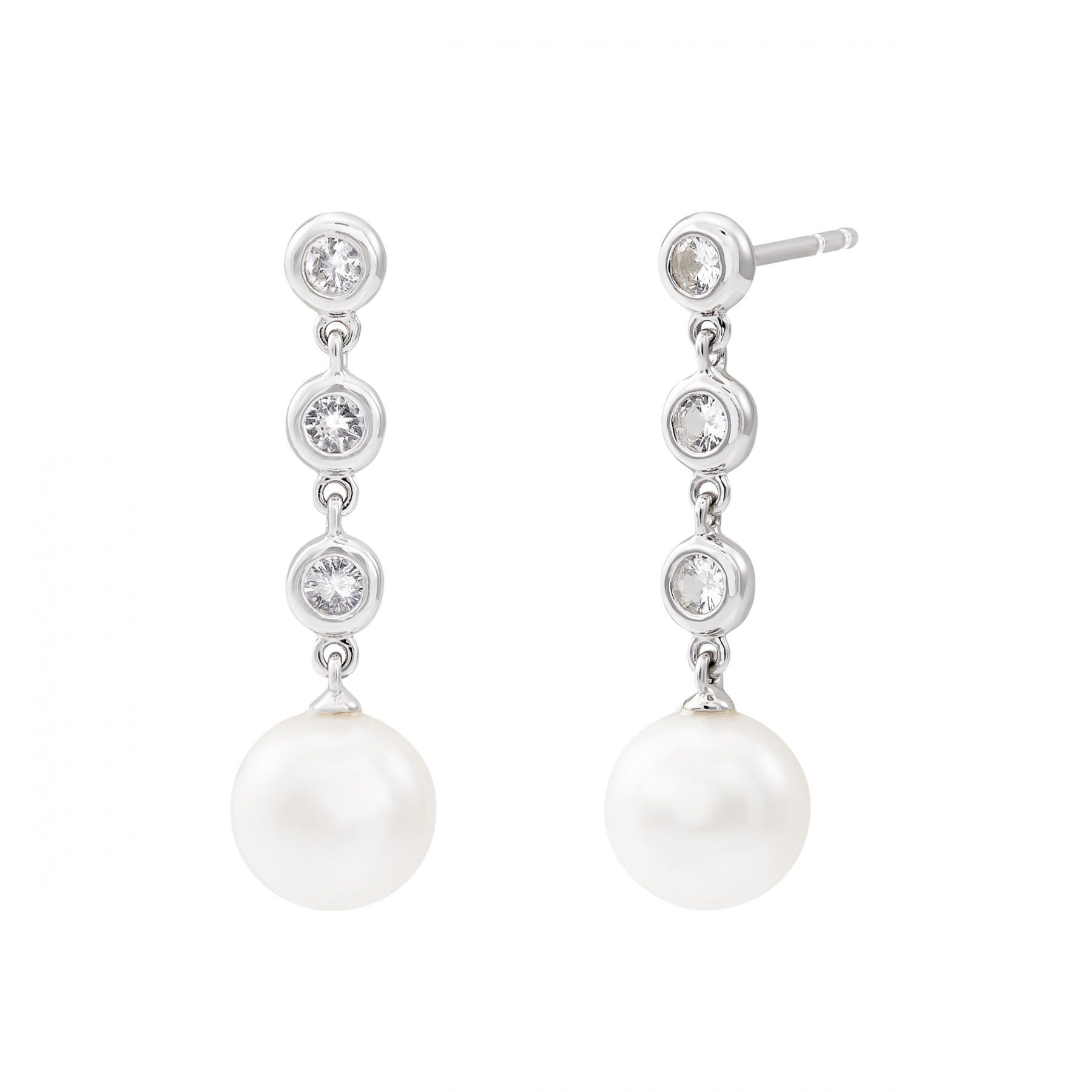 Honora Shimmer Pearl and Sapphire Dangle Earrings in Silver