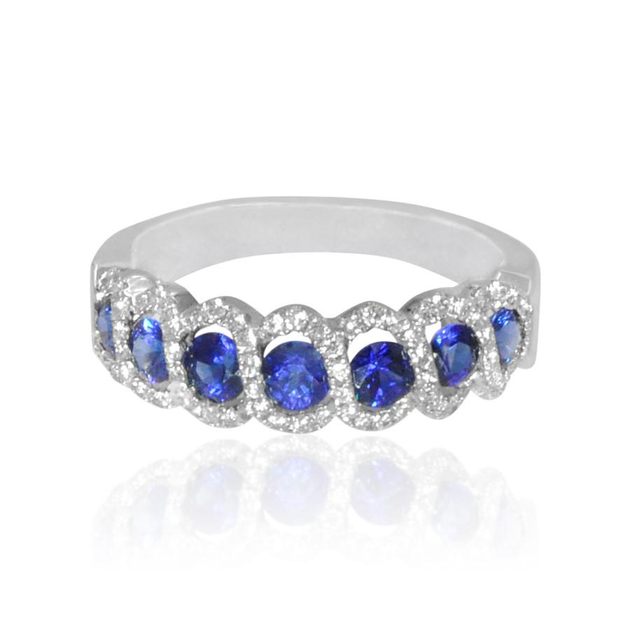 White Gold Diamond & Blue Sapphire Ring